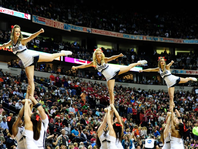 UConn cheerleaders at the Women's Final Four in Bridgestone Arena, Sunday, April 6, in Nashville, Tenn.