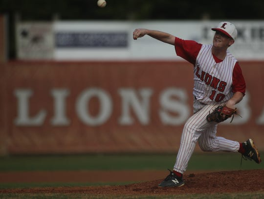 Leon pitcher Zack Treadway throws against Lincoln.