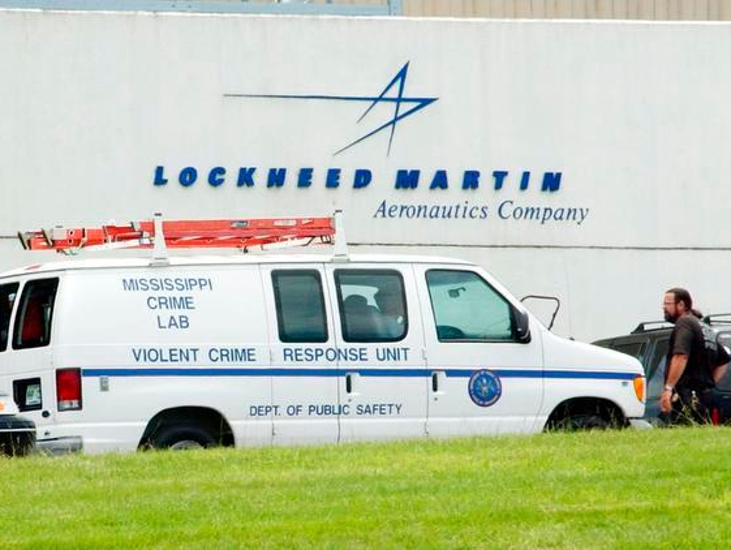 A Mississippi Crime Lab van drives up to the Lockheed-Martin