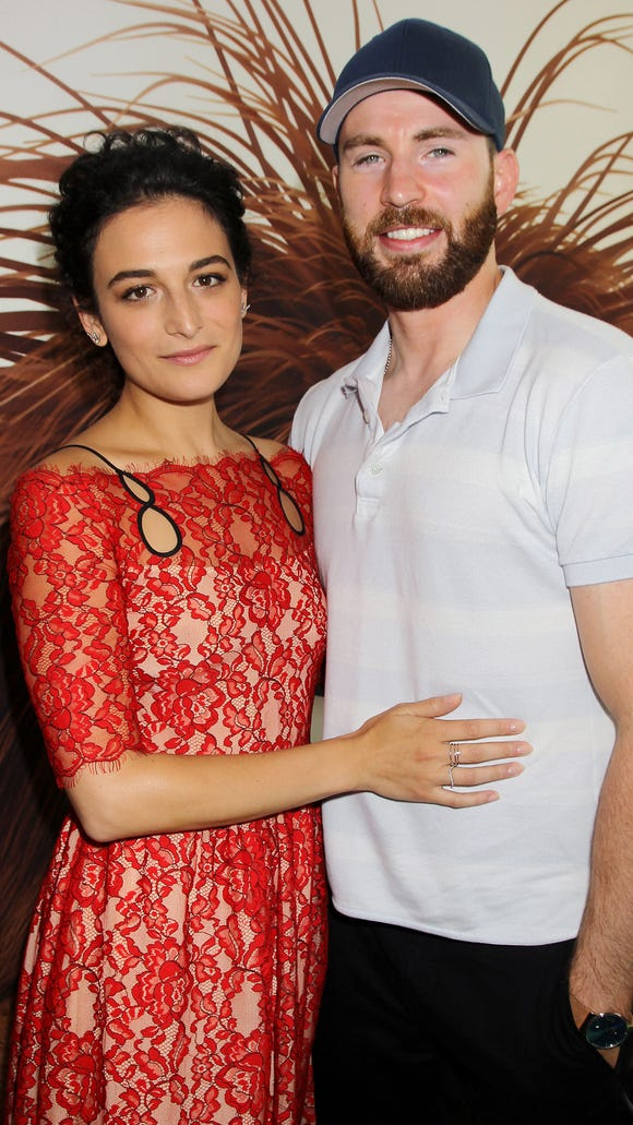 Jenny Slate and Chris Evans attend the New York premiere