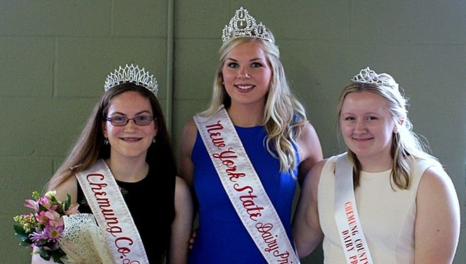 New Chemung County Dairy Princess Alyssa Rood, left, poses with runner-up Sarah Capporicio, right, and New York state Dairy Princess Hailey Pipher.