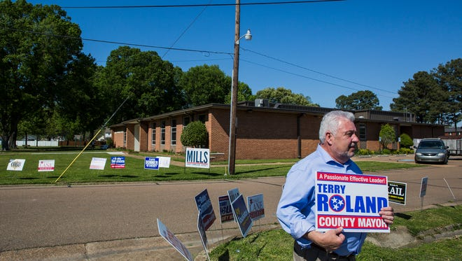 May 1, 2018 - Terry Roland, a Republican running for Shelby County Mayor, campaigns at the Baker Community Center in Millington on Tuesday.