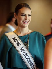 Miss Wisconsin USA's Kate Redeker of Sheboygan smiles during a send-off reception at Pine Hills Country Club Sunday May 15, 2016 at Pine Hills in Sheboygan.  Redeker will be a contestant in the Miss USA pageant.