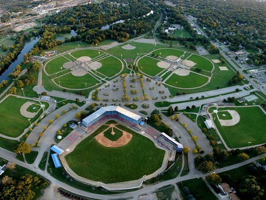 An aerial view of Bailey Park, site of Saturday's Cereal