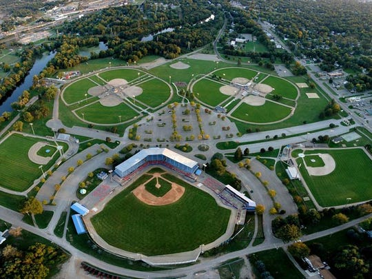 An aerial view of Bailey Park, site of Saturday's Cereal City Diamond Classic and the Cereal City Softball Tournament.