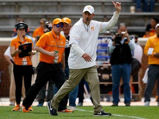 Tennessee head coach Jeremy Pruitt during the Vols' spring game.