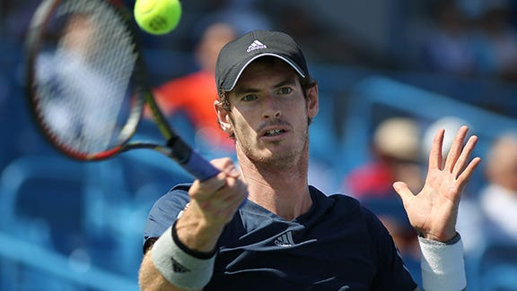 Andy Murray hits the ball as he takes on Joao Sousa at the Lindner Family Tennis Center.