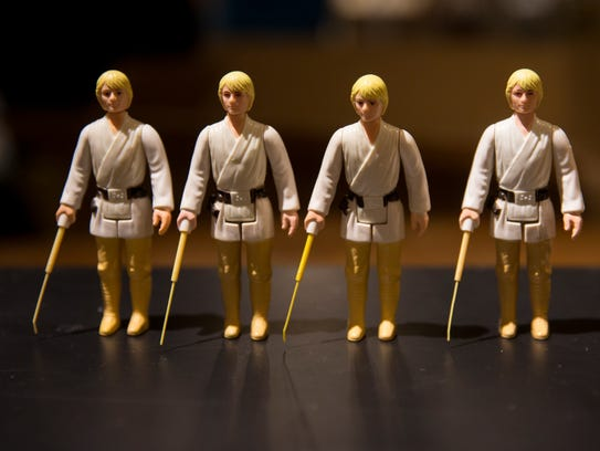 The action figure of Luke Skywalker is unique because the lightsaber retracts. The Kenner Company made all the Star Wars toys when the movie debuted in 1977. They soon found the lightsaber broke too easily so it became fixed on later toys.