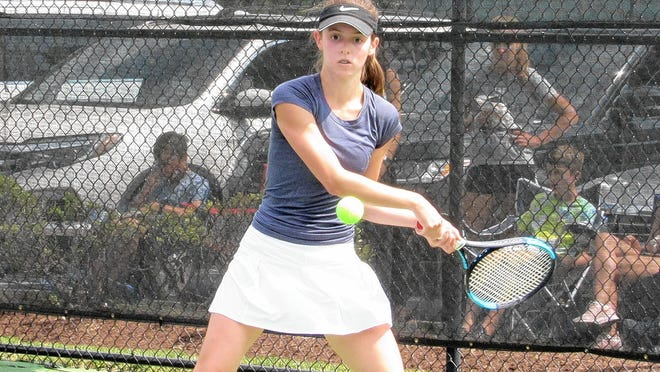 Junior Lilly Thompson and the Wellington girls tennis team opened Aug. 7 by defeating Watterson 3-2.