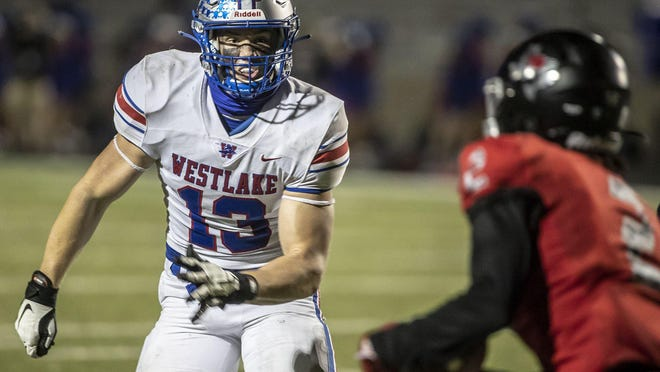 Westlake linebacker Nicholas Morris, running down Bowie receiver Jason Gaines in the second half of a 45-7 victory, is a transfer from Connecticut who has made a big impact for the Chaparrals.