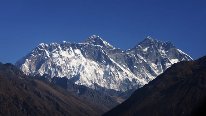 Mount Everest, the world's tallest peak, is seen from Syangboche on December 3, 2009.