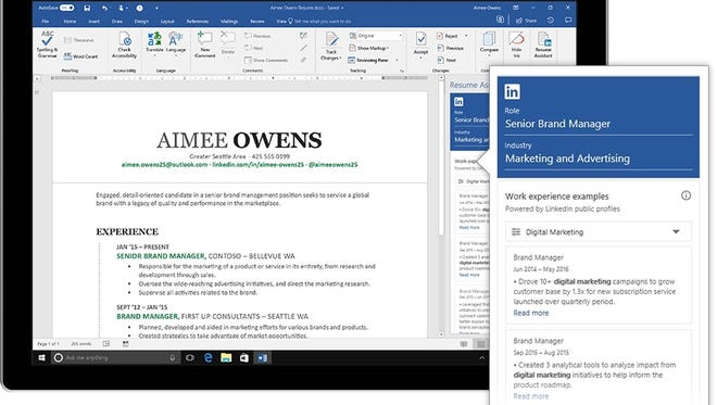 LinkedIn and Microsoft can help you craft a resume