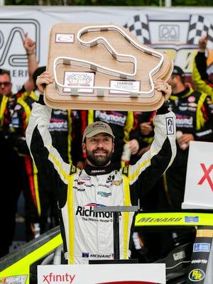 Paul Menard celebrates his Xfinity Series victory at Road America.