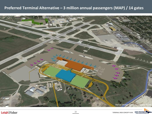 Officials are proposing constructing a new 14 gate terminal on the south side of the Des Moines International Airport. This rendering shows where the terminal and new parking facilities would be located.