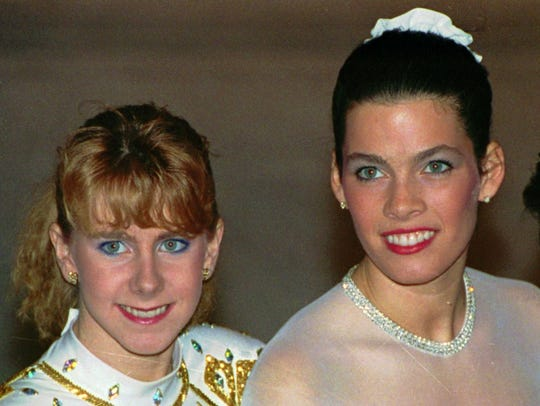 In this Jan. 12, 1992, file photo, Tonya Harding, left,
