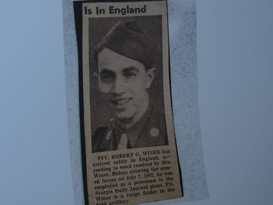 A Sturgis Journal clipping from 1942 announcing that Robert Winer was serving in England.