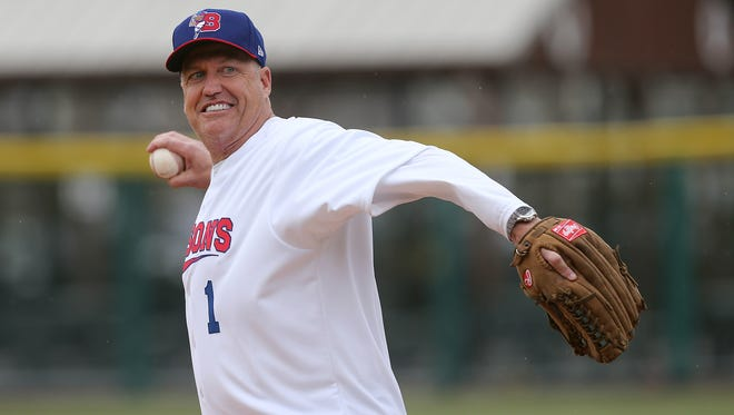 Buffalo Bills head coach Rex Ryan threw out the first pitch at the Buffalo Bisons home opener against the Rochester Red Wings.