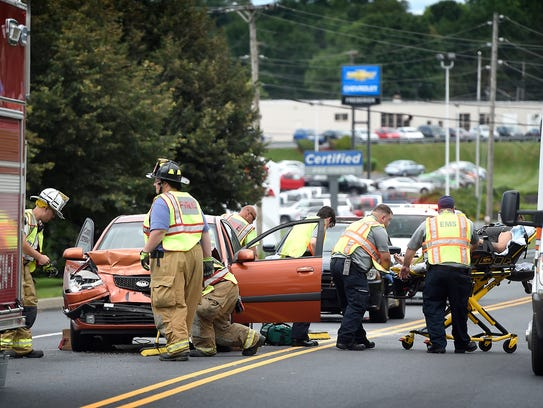 A three vehicle accident at 1701 Quentin Road, tied