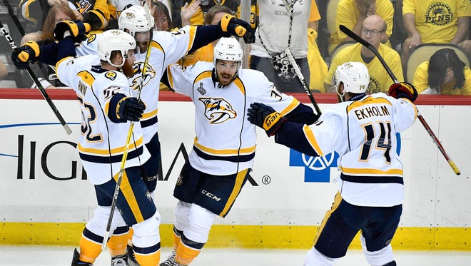 Predators forward Frederick Gaudreau is one of two players in NHL history to score his first three career goals in the Stanley Cup Final.