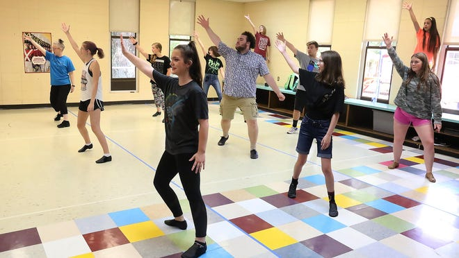 Jennifer Woodside-Anderson, a professional dance instructor, front left, teaches a teen dance class, Thursday, July 16, 2020, at Central Presbyterian Church during the Community School of the Arts - Fort Smith, Dance Your Way to Broadway. The class featured dance fundamentals and techniques  set to Broadway tunes as well as ballet and disco.