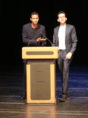 The hosts for the 2017 Metro Awards at Purchase College were Broadway vets Kyle Beltran, left, and Adam Chanler-Berat.
