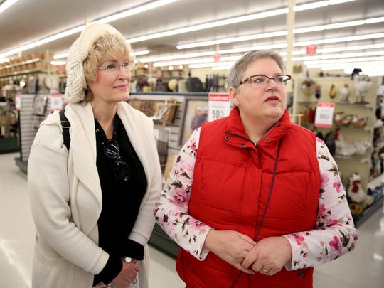 Wendy Fery, left, of Salem and Ali Young of Lebanon shop during the grand opening for Hobby Lobby at the Willamette Town Center in Salem on Monday, Jan. 1, 2018.