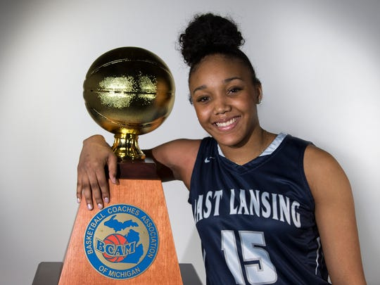 East Lansing High School's Jaida Hampton was named the 2018 Miss Basketball at the Detroit Free Press on Friday March, 9, 2018.
