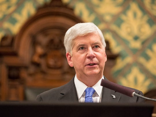 Governor Rick Snyder delivers his State of the State in Lansing on Tuesday, January 23, 2018.