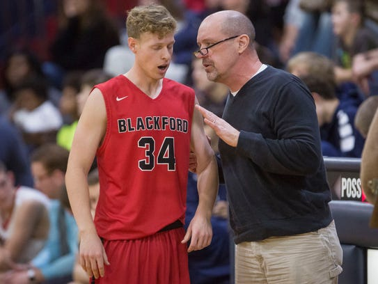 Don Hoover, Blackford's assistant coach, gives direction