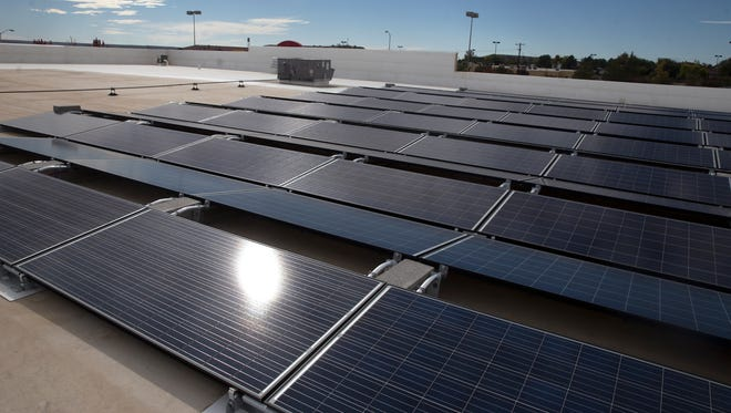 Solar panels are seen on the roof of Target in 2017 in Farmington.