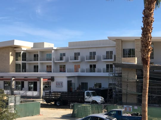 Construction continues at Hotel Paseo on Larkspur Lane in Palm Desert on Nov. 28, 2017. The 150-room boutique hotel is slated to open in January and will be the first for the upscale shopping district.