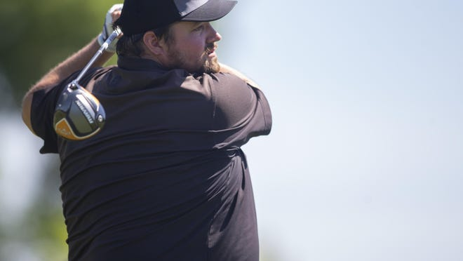 David Nagel watches his tee shot Sunday at Ingersoll. Nagel shot a 69 and leads the Men's City golf tournament for the first time with a 4-under-par 139 after two rounds.