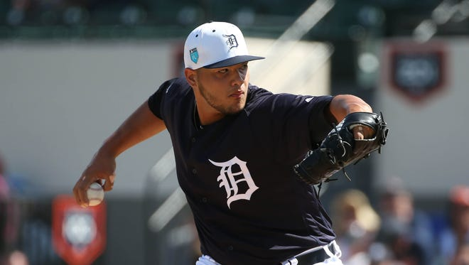Tigers pitcher Joe Jimenez throws against Florida Southern during the third inning Thursday in Lakeland, Fla.