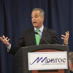 Public Service Commissioner Scott Angelle, a Republican candidate for governor, spoke during a Monroe Chamber of Commerce luncheon Thursday.