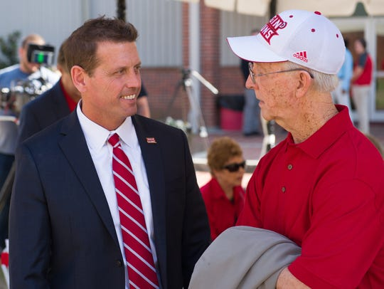 UL athletic director Bryan Maggard (left) talks to Gerald Hebert at the dedication of the Student Athletic Performance Center on Nov. 17, 2017. Hebert will be inducted to the Louisiana Athletics Hall of Fame on Friday ahead of the Cajuns' Saturday football game against New Mexico State.