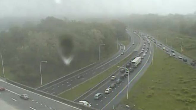 A crash has I-95 southbound, south of 202 backed up Saturday afternoon.