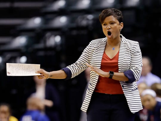 Indiana Fever head coach Pokey Chatman shouts instructions during the first half of a WNBA basketball game against the San Antonio Stars, Wednesday, July 12, 2017, in Indianapolis.
