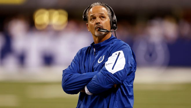 Indianapolis Colts coach Chuck Pagano coaches on the sidelines against the New York Jets at Lucas Oil Stadium.