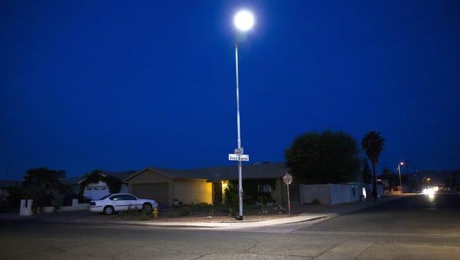 An LED street light illuminates the 2300 block of W. Roeser Rd. in Phoenix April 5, 2016.