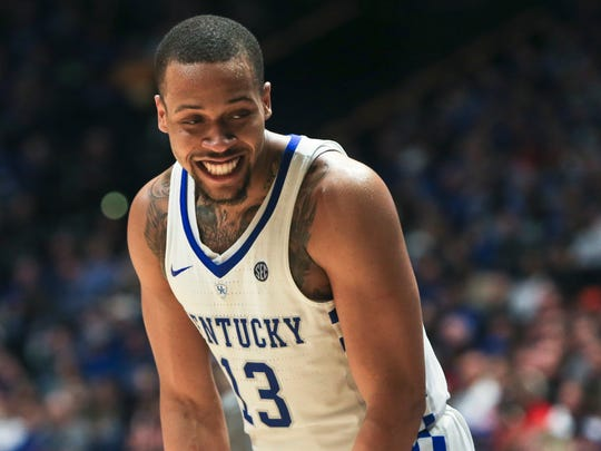 Kentucky's Isaiah Briscoe had reason to smile as he finished with 20 points and six rebounds in the 71-60 win over Georgia Friday afternoon in the SEC tournament.