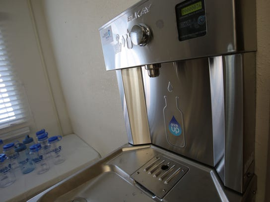 The newly installed water bottle filling station at