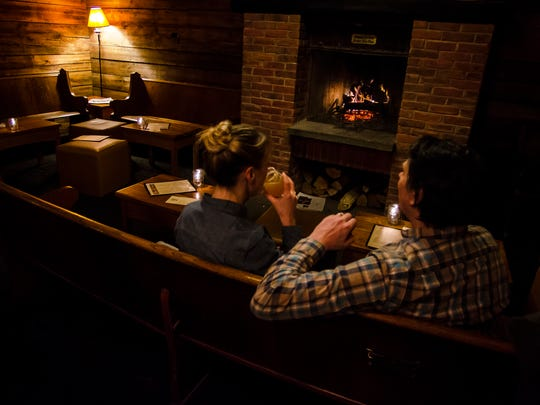 Downstairs at the Farmhouse Tap and Grill is a cozy, warm den, complete with a fireplace and a large selection of craft beers, full bar, and menu for snacking or something more substantial.