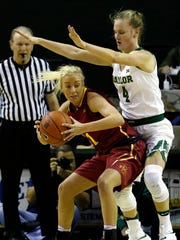Baylor guard Kristy Wallace (4) defends Iowa State