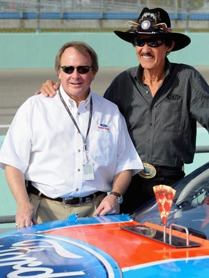 """Edsel Ford II, left, on Richard Petty: """"To have the No. 43 car carry a Ford oval on it is about as good as it gets."""""""