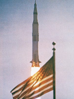 At then-Cape Kennedy in Florida, Apollo 15 launches on its way to the moon on July 26, 1971.