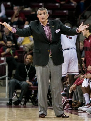 Nov 11, 2016; Columbia, SC, USA; South Carolina Gamecocks head coach Frank Martin disputes a call against the Louisiana Tech Bulldogs in the first half at Colonial Life Arena. Mandatory Credit: Jeff Blake-USA TODAY Sports