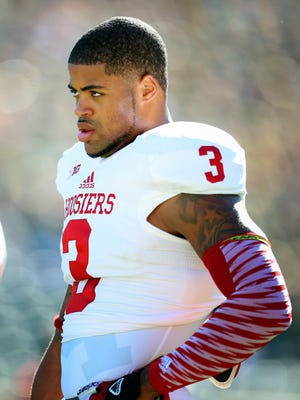 Indiana Hoosiers wide receiver Cody Latimer (3) warms up prior to a game between the Michigan State Spartans and the Indiana Hoosiers at Spartan Stadium.