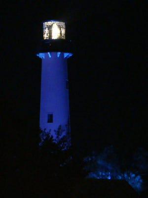 Visitors and onlookers, by sea and shore, are invited to view April 25 the Jupiter Inlet Lighthouse as it lights up in recognition of the greater Autism community in April's National Autism Month. Throughout the year, the Jupiter Inlet Lighthouse & Museum partners with charitable, nonprofit organizations by changing the color of the landmark's beaconing light, in a display of community support for organizations and the work of their life-changing missions.