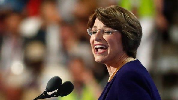Sen. Amy Klobuchar, D-Minn., delivers remarks on the