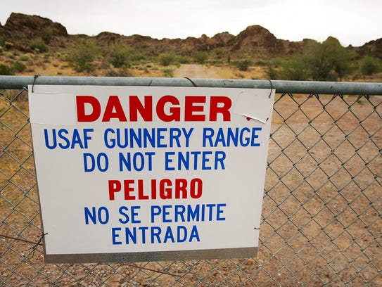 A sign warns of danger on the Barry M. Goldwater Air